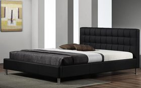 Elan Vela Black Faux Leather Bedstead Mattress Online